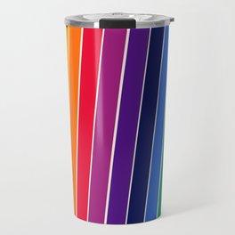 Awe Yeah - 70s style retro throwback 1970s rainbow colorful trendy graphic art Travel Mug