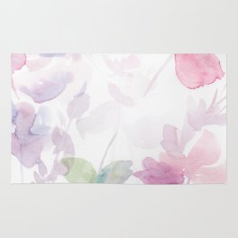 Blooming blush and purple watrclolor Rug