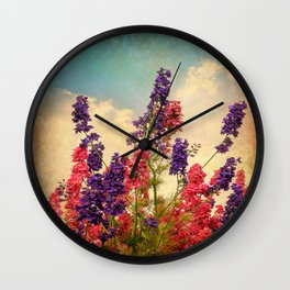 Delphiniums (Textured) Wall Clock