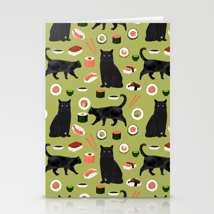 Black cat sushi cat breeds cat lover pattern art print cat lady must ...