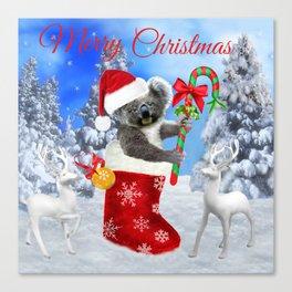 Baby Koala Christmas Cheer Canvas Print