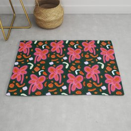 Candy flowers and easter - dark pattern Rug