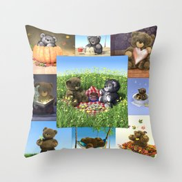 Teddy Compilation 2 Throw Pillow