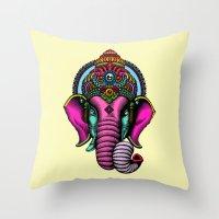 buddha Throw Pillows featuring buddha by mark ashkenazi