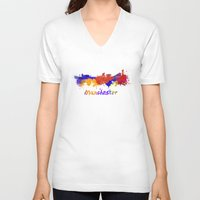 manchester V-neck T-shirts featuring Manchester skyline in watercolor by Paulrommer