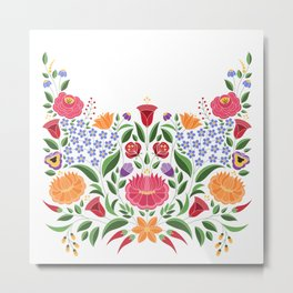 Hungarian folk pattern – Kalocsa embroidery flowers Metal Print
