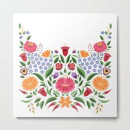 Hungarian folk pattern – Kalocsa embroidery flowers Metal Print
