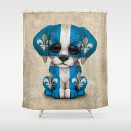 Cute Puppy Dog with flag of Quebec Shower Curtain