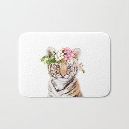 Tiger Cub with Flower Crown Bath Mat