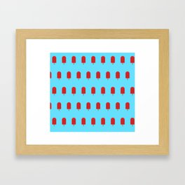 Red Popsicles - Blue Background Framed Art Print