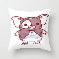 gizmo Throw Pillows featuring Cheeseburger Gizmo by Philip Tseng
