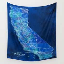 California, blue old vintage map, original art for office decor Wall Tapestry