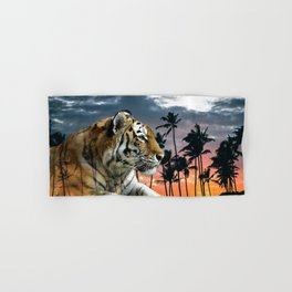 Tropical Tiger in Blue Sunset Hand & Bath Towel