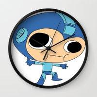 megaman Wall Clocks featuring Silly Megaman by oshio