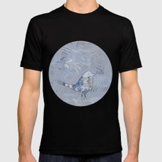 Cute patchwork bird collage with text MEDIUM Black Mens Fitted Tee