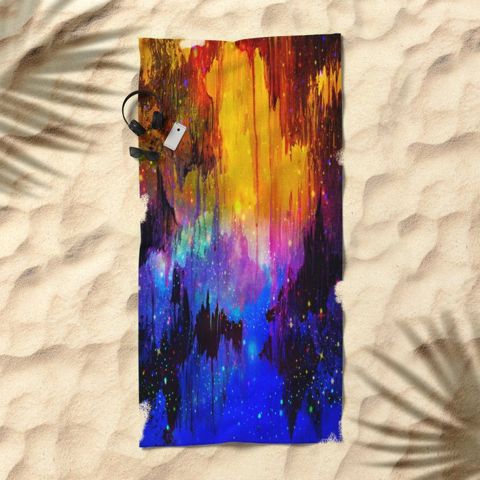 CASTLES IN THE MIST Magical Abstract Acrylic Painting Mixed Media Fantasy Cosmic Colorful Galaxy  Beach Towel