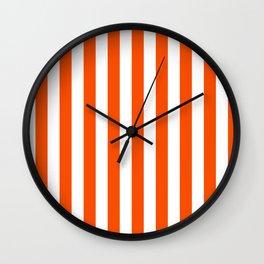 Narrow Vertical Stripes - White and Dark Orange Wall Clock