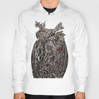 greg guillemin Hoodies featuring Owl Abstract by Greg Phillips by SquirrelSix