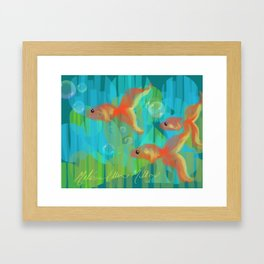 The Three Itty Bitties - Fish with an Orange Yellow Blue and Green Palette Framed Art Print