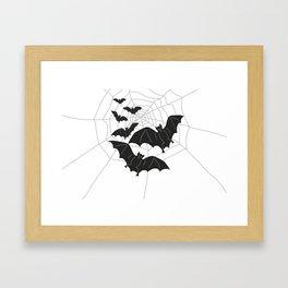 Black Bats with Spider Web Halloween Framed Art Print