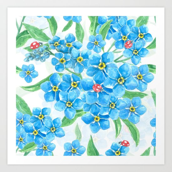 Forget me not seamless floral pattern Art Print