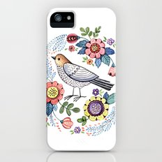 Romantic singing bird with flowers Slim Case iPhone (5, 5s)