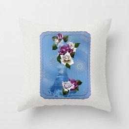 Roses & Snowflakes Winter Genie Bottle Throw Pillow