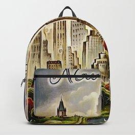 Vintage New York Central Park United Airlines Advertisement Poster Backpack