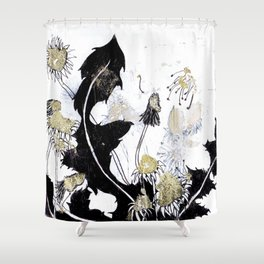 Gold Dandelions Shower Curtain