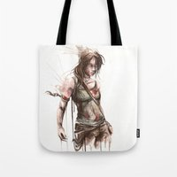 lara croft Tote Bags featuring Lara by Alonzo Canto