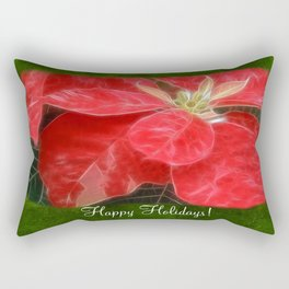Mottled Red Poinsettia 1 Ephemeral Happy Holidays P1F1 Rectangular Pillow