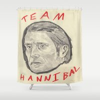 hannibal Shower Curtains featuring Team Hannibal by withapencilinhand