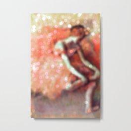 The Dancer by Edgar Degas Peach Bokeh Sparkle Metal Print