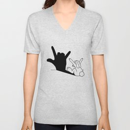 Rabbit Love Hand Shadow Unisex V-Neck