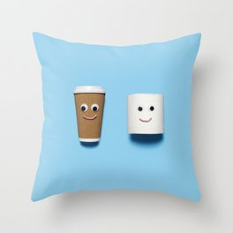 Happy toilet paper and coffee on blue Throw Pillow