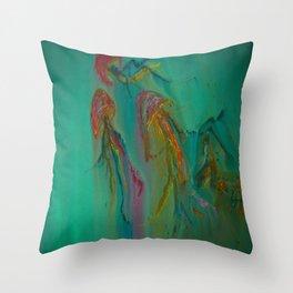Green Jellyfish Throw Pillow