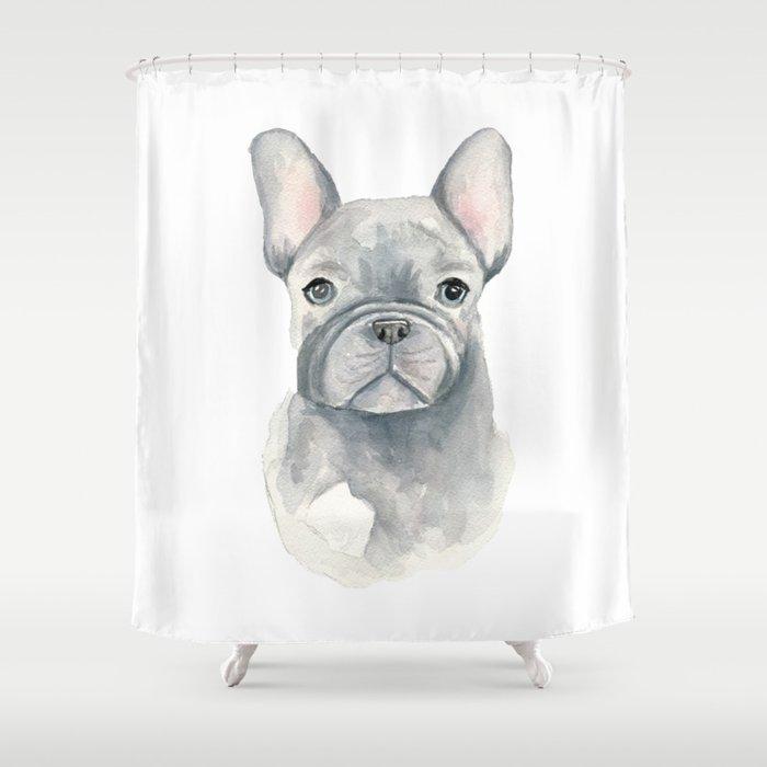 Gray Blue French Bulldog Shower Curtain