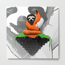 Internet Browsing Sloth Monk Metal Print
