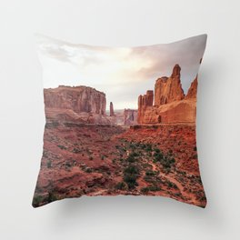 Fire Red Rock Formations in Utah Throw Pillow
