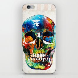Colorful Skull Art - Aye Candy - By Sharon Cummings iPhone Skin