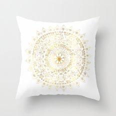 Gold Hand Drawn Mandala Throw Pillow