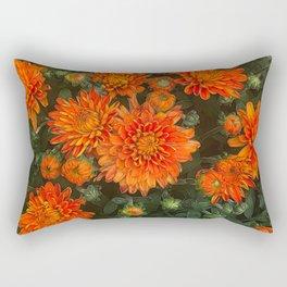 Orange Fall Mums Rectangular Pillow