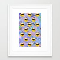 holographic Framed Art Prints featuring Sunglasses Emoji Holographic by Andy Paik