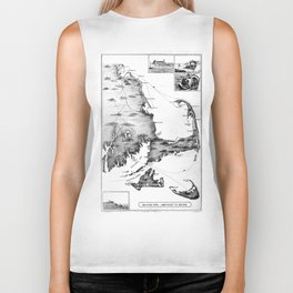 Vintage Map of Cape Cod (1885) BW Biker Tank