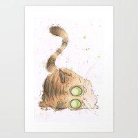 tigger Art Prints featuring Tigger by Morgan Ofsharick - meoillustration