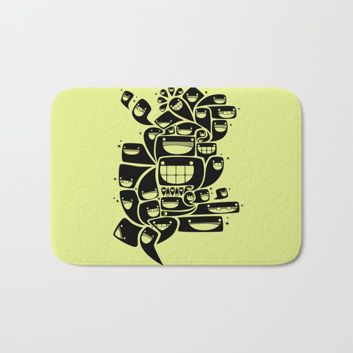 Happy Squiggles - 1-Bit Oddity - Black Version Bath Mat