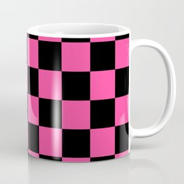 Black and Pink Checkerboard Pattern Coffee Mug