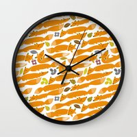 kitsune Wall Clocks featuring Kitsune by Mamoizelle