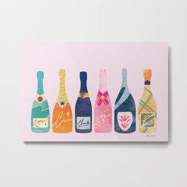 Champagne Bottles - Pink Ver. Metal Print