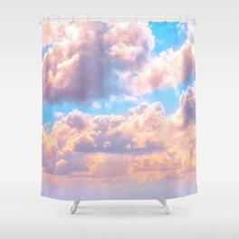 Beautiful Pink Cotton Candy Clouds Against Baby Blue Sky Fairytale Magical Sky Shower Curtain